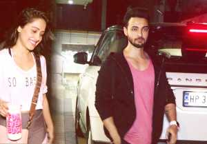 Aayush Sharma & Nushrat Bharucha spotted at Juhu