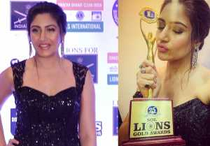 Surbhi Chandna looks Stylish in Black outfit at 25th Sol Lions Gold Awards 2019