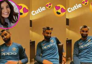Anushka Sharma put a doggy filter on husband Virat Kohli face. Watch Funny Video