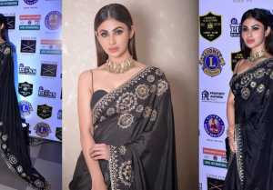 Mouni Roy looks stylish in Black Sari at 25th Sol Lions Gold Awards 2019