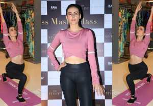 Mandana Karimi shows off some great yoga poses at Fitness Masterclass Event