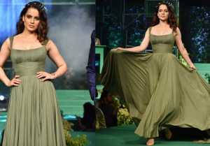 Kangana Ranaut looks ethereal in Eco-Friendly Green gown during a Ramp walk; Watch Video