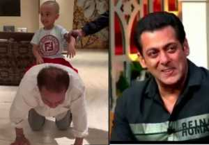 Salman Khan nephew plays with grandfather Salim Khan: Watch video