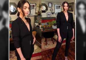 Aditi Rao Hydari's latest look with black Formal Pantsuit; Watch video