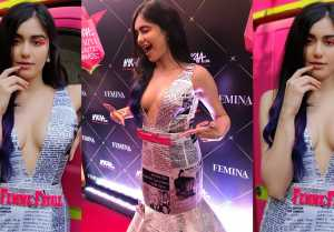 Adah Sharma stuns in Newspaper printed dress at Nykaa Femina Beauty Awards 2019