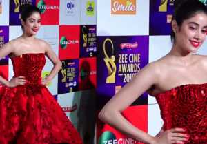 Jhanvi Kapoor looks perfect diva in red at Zee Cine Awards 2019;Watch video
