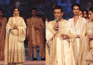 Karan Johar & Sonam Kapoor walked the ramp for designers Abu Jani and Sandeep Khosla