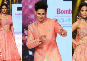 Hina Khan walks the ramp with Priyank Sharma at Bombay Times Fashion Week 2019