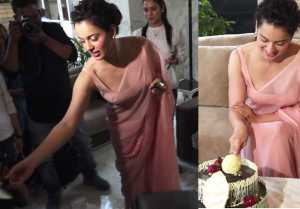 Kangana Ranaut celebrates her 32nd birthday with media;Watch video