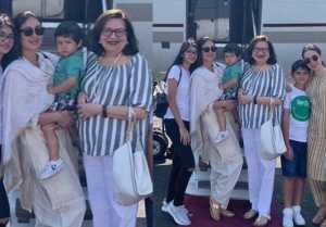 Kareena Kapoor, Taimur Ali Khan and Karisma Kapoor join Babita for birthday outing