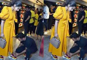 Sonam Kapoor's husband Anand Ahuja ties her shoelace in front of media; Check Out