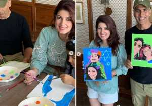 Akshay Kumar and Twinkle Khanna helps daughter to make art project