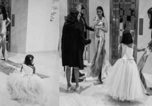 Aishwarya Rai Bachchan's daughter Aaradhya fixes her dress at Cannes 2019
