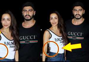 Arjun Kapoor keeps hand on Malaika Arora's back at India's most wanted screening