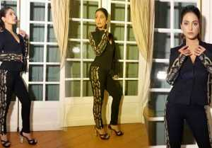 Hina Khan Looks Hot in Black And Golden Pantsuit: Check Out Here