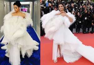 Aishwarya Rai Bachchan looks Royal in feathery white gown at Cannes red carpet