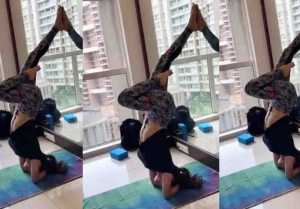 Mouni Roy's tough yoga aasan will you in shock; Watch video