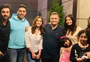 Aishwarya Rai Bachchan, Abhishek Bachchan, Alia Bhatt & Ranbir Kapoor meet Rishi Kapoor