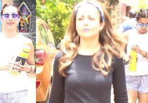 Malaika Arora & sister Amrita Arora spotted at outside gym;Watch video