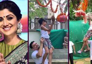 Shilpa Shetty's son Viaan Raj Kundra breaks dahi handi on Janamashtami; Watch video
