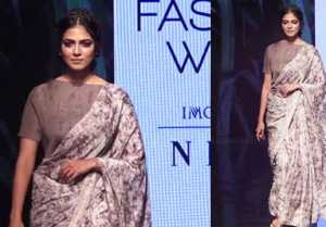 Malavika Mohanan walks the ramp in Saree at Lakme Fashion Week 2019