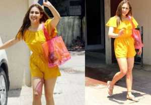 Sara Ali Khan stuns in yellow jumpsuit outside Gym in Mumbai; Check out
