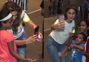 Sara Ali Khan clicks selfie with her little fans at airport;Watch video