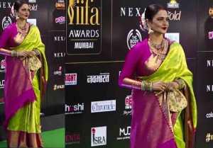 Rekha looks beautiful in green and pink silk saree at IIFA 2019; Watch video