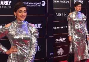 Sonali Bendre looks perfect in silver shimmer gown at Vogue Women Of The Year event