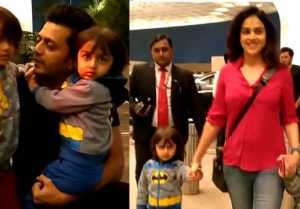 Genelia D'Souza & Riteish Deshmukh spotted with their kids in Mumbai airport; Watch video