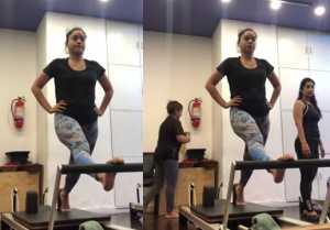 Kapil Sharma on screen wife Sumona Chakravarti works hard in gym; Watch video