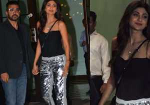 Shilpa Shetty attends in this look with Raj Kundra at Arpita & Aayush party