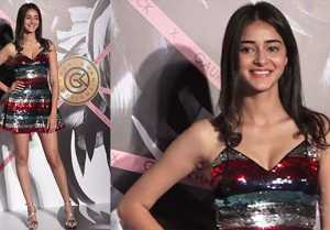 Ananya Panday's looks glamorous in short sequin dress at Falguni Peacock's store launch