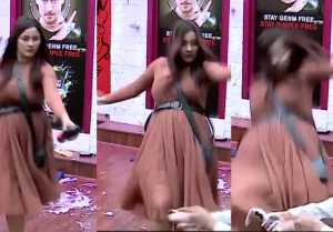 Bigg Boss 13:  THIS is how Shehnaz Gill falls down during task; Check Out