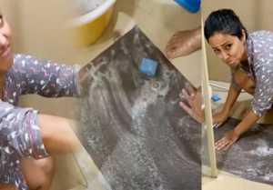 Hina khan washes doormats during lockdown;Watch video