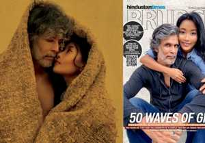 India's first magazine cover shot on Mobile App featuring Milind Soman and wife Ankita Konwar