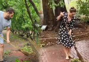 Salman Khan cleans his Panvel farmhouse with Iulia Vantur after Cyclone Nisarga