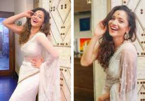 Ankita Lokhande shares her beautiful pictures in white saree