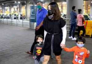 Sunny Leone spotted at airport with kids