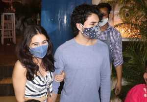 Sara Ali Khan and Ibrahim Ali Khan Snapped at Olive Bandra