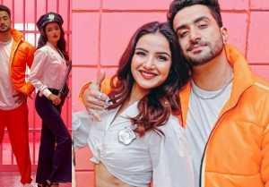 Jasmin Bhasin, Aly Gony & Tony Kakkar enjoys at set of song Tera Suit