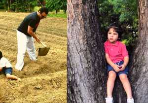 Taimur Ali Khan & Saif Ali Khan working on farms on World Earth Day