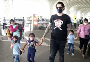 Sunny Leone kids spotted at Mumbai Airport with Daniel Weber