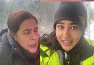 Sara Ali Khan enjoys snow with mom Amrita Singh; Watch Video