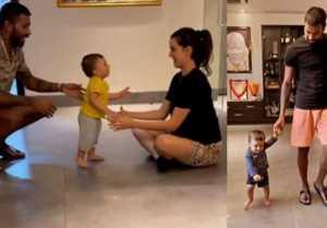 Hardik Pandya & Natasa Stankovicteach 9 month old son Agastya walking video goes Viral
