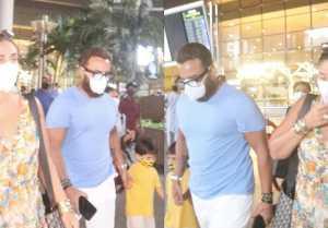 Saif Ali Khan Spotted with Kareena and Sons Taimur, Jeh at Airport