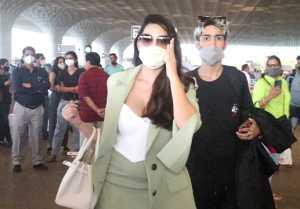 Actress and Dancer Nora Fatehi Spotted at Mumbai Airport