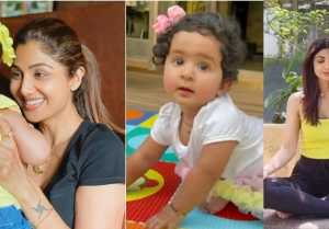 Shilpa Shetty gets her one-and-a-half year old daughter Samisha done yoga