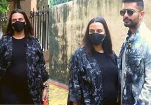 Neha Dhupia with husband Angad Bedi spotted at BANDRA ;Watch video