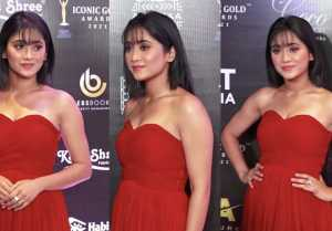 Shivangi Joshi looks like princess in red gown at Prestigious 2nd Iconic Gold awards